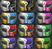 Wholesale Men s retro Greco Roman Gladiator masquerade masks Vintage Golden Silver Mask silver Carnival Mask Mens Halloween Costume Party Mask