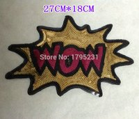 Wholesale Foreign trade products sequins embroidery cloth letter WOW garment accessories beads large patch