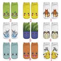 Wholesale Newest D Fashion Printing Women Men Unisex Socks styles Cartoon Poke Go Pikachu Eevee Bulbasaur Gengar Ankle Socks Via DHL