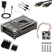 Wholesale 5 in kit for Raspberry Pi V mA Power Adapter Heatsinks Fan Cable Case