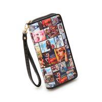 american standard handle - Women Fashion Print Long Wallet with Handle Wristlet Metal Zipper