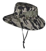 Wholesale Men s outdoor sunscreen camouflage print big brim sunbonnet climbing fishing adventure sun protect hat cap boonie hat