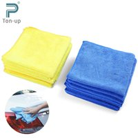 Wholesale 12pcs Square Car Wash Towel Premium Soft Absorbent Microfiber Vehicle Washing Cloth Cleaner CM Yellow Blue