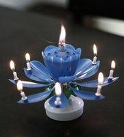 Wholesale New Amazing Romantic Musical Lotus Rotating Happy Birthday Candle