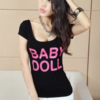 baby doll tees - Summer new sexy bodycon tunic short sleeve t shirt letter print BABY DOLL plus size cotton tees tops