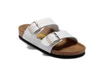 beach matt - High quality women s summer fashion two buckle matt white leather slippers beach sandals casual flat Roman sandals