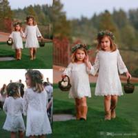 2016 moda playa llena de encaje flor vestidos de niñas para bodas joya manga larga bebé vestidos de desfile vestir de rodilla primera comunión vestido
