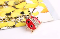 Wholesale 2016 New Fashion Jewelry Accessories Brooch Animal Brooches Rhinestone Red Ladybug Brooch For Women Girl Jewelry ZA0048