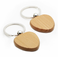 Wholesale WOODEN HEART KEYCHAIN BLANK Cheaper keychains Personalized Engraved key ring x1 KW01X