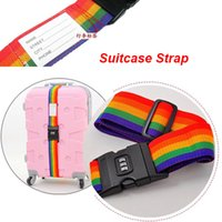 Wholesale 2016 Rainbow Stripe Travel Luggage Suitcase Strap Combination Secure Lock Safe Belt Strap m Baggage Belt Packaging Belt With Password DHL