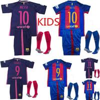 Wholesale 2016 Top Thai Barcelona Lowest children MESSI soccer jersey shirt Neymar Suarez A INIESTA packet youth soccer shirt jerseys ET
