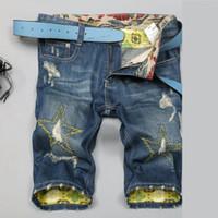 Cheap denim biker shorts men jeans ripped jeans for mens shorts board hole jean casual short pants knee length bermuda masculina