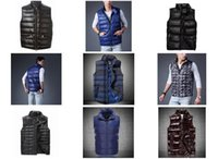 Wholesale 2017 NEW shipping Fashion Hot Brand Down Cotton Vest Men Outerwear Casual Vests Undershirt Vest Warm Colors EA M L XL XXL