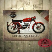 agusta sports - Vintage Garage MV Agusta Super sport Lusso Motorcyles Parts Italian Small Metal Tin Sign C