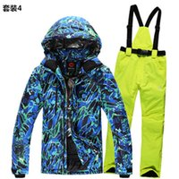 Wholesale Winter Men Skiing Suits Top Fasion Male Skiing Jacket Snowboarding Pant Real Warmth Waterproof High Quality