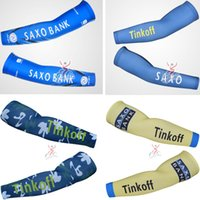 Wholesale cycling Arm Warmers SAXO BANK Outdoor Sport Two ice silk Arm Sleeve Bicycle Cuff Bike Ciclismo Prevent bask in Oversleeve