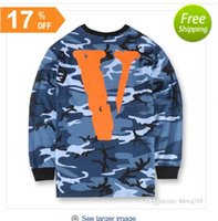 Wholesale VLONE Military Camo Sweatshirt For Men Mens Blue Green Crew Neck Hoodies Hip Hop FRIENDS Printed Cotton Sport Tracksuit Sudaderas YBF0933