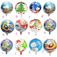 Wholesale 100pcs inch Round Christmas Santa Claus aluminum foil balloons Santa Claus helium Merry Christmas Party Decoration