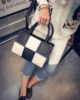 Wholesale New fashion hit color handbag square box stitching shoulder bag Boston bag Messenger bag
