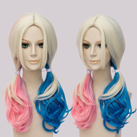 Wholesale Hot Sales Movie Suicide Squad Harley Quinn Cosplay Wig Curly Pink Blue Ombre Color Gradient Hair For Halloween