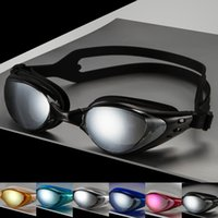 Wholesale Authentic electroplating goggles flat waterproof anti fog Adult hd men and women general myopia swimming glasses big box