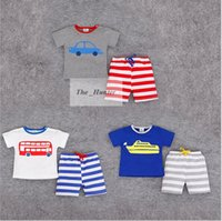 american brand cars - Kids Summer Clothing Sets Cartoon Car Octopus Outfits Cotton T Shirts Striped Pants Short Sleeves Shirts Casual Shorts Baby Clothing A158