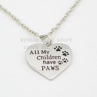 animal rescue jewelry - 2016 new Pet Memorial Necklace quot all my children have paws quot paw Print Heart Necklace Benefits Animal Rescue Dog Lovers Jewelry
