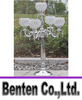 Wholesale 80cm height arms crystal candelabras shiny silver finish wedding candle holder wedding centerpiece party event decoration LLFA11