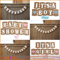 baby shower ribbons - Fashion Design Vintage Style Baby Shower Party Birthday Heart Banner Decoration Kraft Paper Ribbon