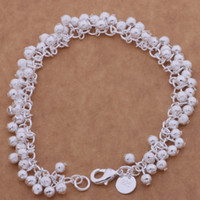 Wholesale 1x Women Sterling Silver Plated Charm Grape Beads Chain Bracelet Bangle C00354