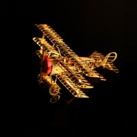 aircraft craft - In business DIY D three dimensional puzzle DIY copper sculpture bronze Fokker aircraft without glue Brass metal crafts gift INBTG3P002