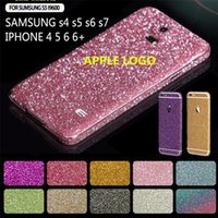 anti stickers - For iphone7 full body glitter sticker Front Back full body bling sticky skins protector films for iphone s plus samsung s5 s6 s7 edge
