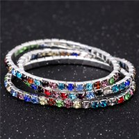 amazing chain - Amazing Cheap Rhinestone Stretch Bangle Row Multi Color Wedding Bracelets Bridal Jewelry Bracelet for Bride Woman Party Evening Prom