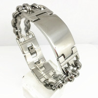 Wholesale Special offer Inventory Goods Punk Men s Stainless Steel Bracelet mm Link Style Bracelet Double Buckles Silver Color