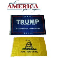 Wholesale Yellow x Ft Gadsden Dont Tread on Me Flag Blue Donald Trump Flag Make America Great Again