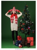 Wholesale The new winter Christmas jacquard wool suit melting schoolgirl thickening hat scarf gloves three piece
