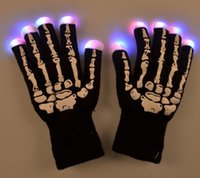 Wholesale New Fashion Creative LED Halloween Skeleton Gloves Light Up Flashing Finger Lighting Glow Hip Hop Style CC716