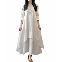 Wholesale Casual Solid Autumn Dress Women Elegant Loose Full Sleeve V Neck Dress Cotton Linen Boho Long Maxi Dress Vestidos dresses
