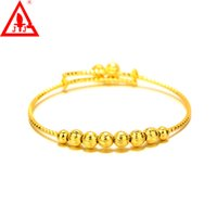 Asian & East Indian bell bangles - New Style Small Bell Luxury European Bead Bangle Alloy K Yellow Gold Plated Jewelry Prom Party Wedding Accessories