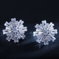 baguettes jewelry - Bling Jewelry Platinum Plated CZ Cluster Snowflake Stud Earrings Silver Baguette and Round Cuts Flower Design Pierced Earrings