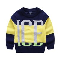 Wholesale Baby Toddler Boys Cardigan Sweater Autumn Winter Cotton Letter Knit Coat Outwear Children Clothes Boutique Clothing