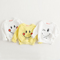 Wholesale Family Fitted Cartoon Hoodies Cotton Parent child clothing Loose Smile Printing Long sleeved Paternity Coat Top kids T