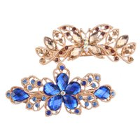 alloy testing - Golden Butterfly Blue Flowers Rhinestone Gold plated Buckle Test Clip Elegant Classical Female Elegant Crystal Hairpin Hair Beauty Party