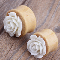 bamboo body jewelry - bamboo hollow flesh tunnel with flower for wholesales body jewelry facotry sales piercing stretcher