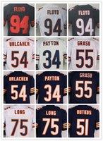 Wholesale Discount Football Jerseys Bears Brian Urlacher Kyle Long Walter Payton Hroniss Grasu wihie blue Elite Embroidery Mix Order