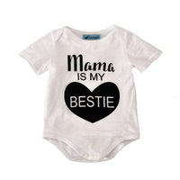 Wholesale baby romper white summer brand letter mama is my bestie girl rompers jumpsuit high quality fashion cute newborn girl romper christmas