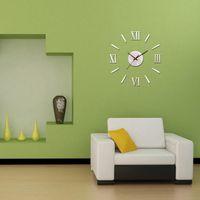 Wholesale Metallic Feeling D DIY Funny Wall Clock Stickers Modern Design Decorative Roman Numeral Analog Quartz Wall Clocks