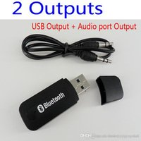 Wholesale P Double Output USB Wireless Bluetooth mm Music Audio Car Handsfree Receiver Adapter USB Dongle mm Stereo Music Receiver