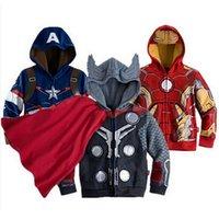 Escudo para Niños Niños bebés prendas de vestir exteriores de superhéroes chaquetas Tops Ropa de manga larga con capucha Dibujos de algodón Outwear para el traje Ropa niños