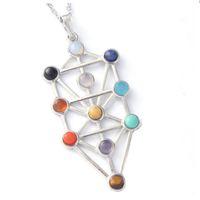 american jewish - BLE The Qabalistic Tarot Tree of Life Pendant Jewish Kabbalah Necklace Bead Chakra Healing Gemstone Jewelry